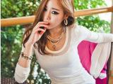 韩国东大门代购女装时尚潮人领口网纱t恤长袖圆领打底t恤衫 女t恤