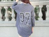 工厂直销格子衬衫女春秋中长款长袖字母大码修身衬衣女式韩版9175
