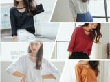 2015秋季新款 韩版纯色贴袋宽松大码长袖纯棉打底衫上衣T恤女