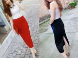 2014春装新款高腰全棉开叉包臀中长半身裙女装一件代发批发