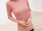 2014早春新款 韩版修身弹力高领打底衫 纯色针织衫 女式毛衣批