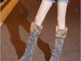 秋冬新款韩版内增高学生靴子毛毛女靴子绑带高筒靴雪地靴长靴大码
