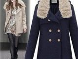2014秋冬装新款中长款呢子外套毛呢大衣女毛领英伦风双排扣女#2