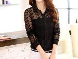 2014新款韩版蕾丝雪纺翻领开衫半透镂空长袖衬衣 女式衬衫835