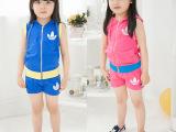 2014夏季新款童装 儿童夏装短袖短裤卡通套装 女童韩版两件套装