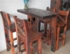 枣庄老船木家具批发办公桌会议桌船木长凳茶台茶几