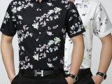 寒霸男士新款商务正装短袖衬衫翻领时尚碎花开衫青年短袖男衬衣爆