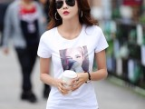 时尚夏季女装牛奶丝印花体恤衫5块9批发价