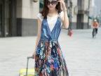 2014夏季新品连衣裙韩版修身短袖牛仔印花雪纺两件套连衣裙吊带裙