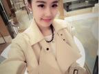 Q3161 2014春装新款韩版纯色无扣气质款风衣中长款外套