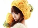 秋冬季新款嫩黄撞色大毛球慵懒后堆毛线针织帽子 麻花吊球帽