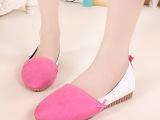 2014年新款韩版面拼接PU豆豆平底鞋时尚舒适女单鞋小尖头女鞋