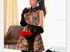 2013韩版早秋新款 甜美梦幻玫瑰花钉珠翻领蓬蓬毛呢 连衣裙TW879