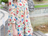 2014春夏新款,韩国东大门代购圆领宽松碎花七分袖印花长款雪纺衫