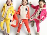 童装2015新款女童加绒卫衣三件套韩版中大童运动套装加厚冬装