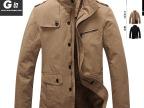 H男士冬款休闲外套 男装夹克 加厚加绒夹克 纯棉修身上衣2188Z