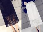 厂家直销2015春夏新款气质镂空花朵百褶蕾丝裙叠层蕾丝半身裙