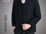 2014秋冬新款中老年男装夹克中年男士立领呢外套爸爸装厂家直销