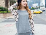 秋季新款蕾丝拼接蝙蝠长袖T恤韩版女式大码t恤女装宽松打底衫批发