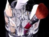 炫彩透明化妆盒水晶底座迷你笔筒彩妆盒可爱