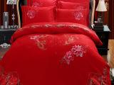 路安家纺大红奢华婚庆纯棉四件套贡缎贴布绣花四件套床上用品直销