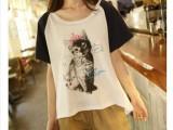 日系小清新学院风皇冠猫咪插肩袖拼色全棉女士短袖女T恤