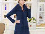 2014韩版貂绒大衣厂家一件代发 高品质中长款羊毛衫外套开胸上衣