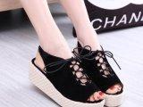 2014夏新款韩版厚底坡跟鱼嘴凉鞋外贸女鞋批发鞋子系带镂空松糕鞋
