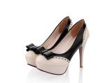 粉色系圆头蝴蝶机装饰高跟外贸大码女鞋批发 可爱乖乖款单鞋代理