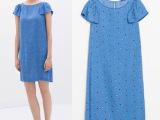 欧美风全网最低 大牌女装圆领彩色小波点印花飞飞袖连衣裙