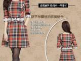 全网** 套装韩版新品大格子修身收腰蝴蝶结学院连衣裙100%正品