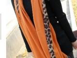 单色纯色围巾拼接豹纹秋冬围巾斜纹棉豹纹围巾