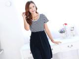 2014夏季韩版新款孕妇装纯棉条纹时尚短袖外出哺乳连衣裙