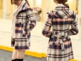 厂家直销秋冬新款女式毛呢大衣中长款格纹翻领蝴蝶结毛呢保暖外套