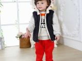 冬款童装 儿童三件套加厚加绒休闲男童连帽宝宝棉服套装卡通童装