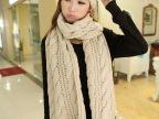 韩版秋冬女保暖围脖针织粗线纯色超大三条麻花毛线围巾