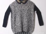 2014女装新款毛衣 韩版女装长袖圆领翻领毛衣 低价批发