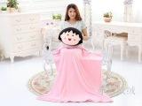 可爱卡通樱桃小丸子头 手捂靠垫抱枕空调毯夏凉被三合一只代发