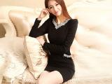 2014秋装新韩版修身中长款镶钻钉珠长袖包臀连衣裙打底裙女