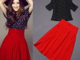 爆款2014夏新款女装甘婷婷明星同款连衣裙波点短袖红裙套装