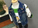 **定制中小童 15秋冬新款儿童外套  贴徽章拼袖韩版牛仔衣外套