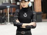 2015新款女式针织衫套头手工钉钻棉袖修身弹力高领打底衫毛衣