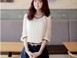 韩版甜美圆领褶皱雪纺中袖两件套