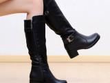 【伙拼】贝罗盟英伦风骑士马丁靴侧拉链粗跟长靴子 高筒皮靴 女靴