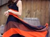 2014夏季新款连衣裙 韩版波西米亚风条纹背心裙 雪纺连衣长裙7