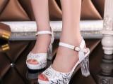 2014夏季新款女高跟鞋 欧美夜店印花水晶跟防水台超高跟鱼嘴凉鞋