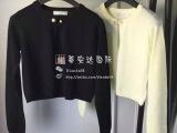 微信代理2015欧美早秋新款女装可爱羊绒百搭纯色短款针织衫开衫潮
