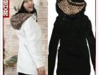 2014春装新款 日韩版女装  176甜美可爱豹纹帽卫衣