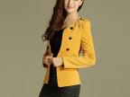 2014春秋新款女装修身显瘦女士韩版小西装女装外套黄色
