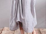 2015夏季新款棉麻文艺女装 半身长裙批发文艺亚麻长裙半身裙